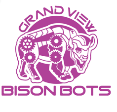 Grand View Bison Bots logo in fuchsia features a bison robot made up of cogs and gears